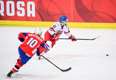 Tereza Vanisova from Czech Republic against Helene Martinsen from Norway during the 2017 Women's Final Olympic Group C Qualification Game between the Czech Republic and Norway, photographed Thursday, 9th February, 2017 in Arosa, Switzerland. Photo: PPR / Manuel Lopez